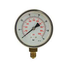 "4"" Dial Pressure Gauge 0-1,000PSI/Bar 3/8"" BSP Bottom Connection"