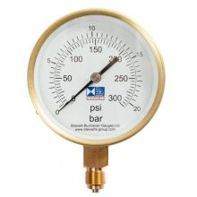 "4"" Dial Pressure Gauge 0-300 PSI/Bar 3/8"" BSP Bottom Connection"