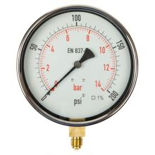 "6"" Dial Pressure Gauge 0-200 PSI/Bar 3/8"" BSP Bottom Connection"