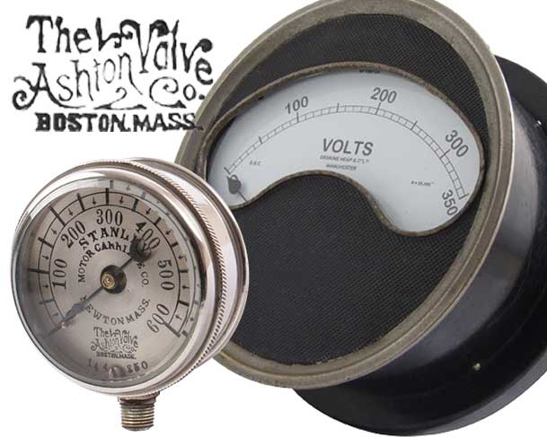 Ashton Steam Car Gauges, Volt Meters & Ammeters